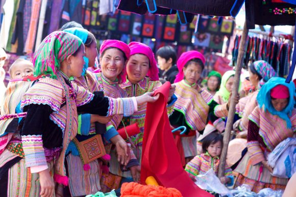 Hill tribes at Bac Ha market in Sapa, Vietnam