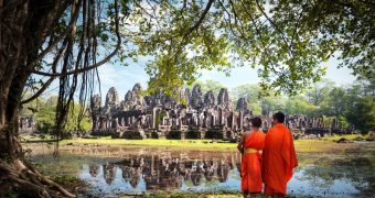 monks and Bayon temple