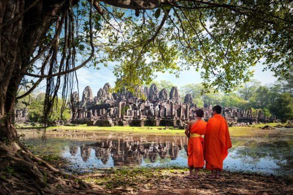 Monks at Bayon Temple, Cambodia