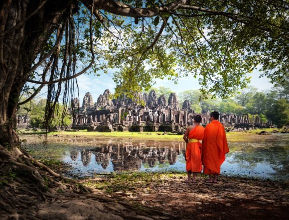 Buddhist monks at Bayon Temple, Cambodia