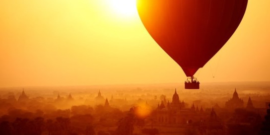 Hot Air Balloon over thousands temples of Bagan, Myanmar