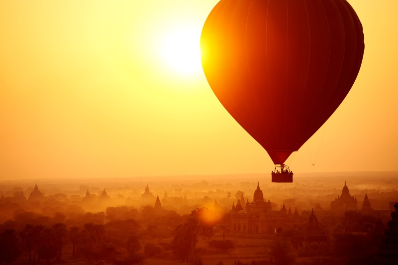 Hot Air balloon over thousands of temples in Bagan, Myanmar
