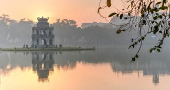 Turtle Tower on Hoan Kiem Lake, Vietnam