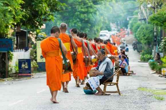 alms giving, Laos