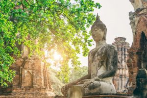 Buddha statue in the ancient temple at Ayutthaya -- Northern Thailand Tour.
