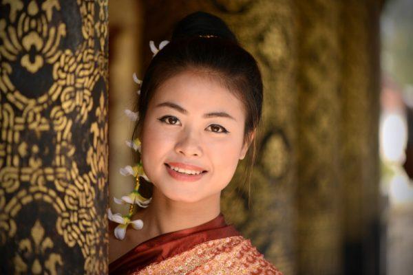 Laotian Lady at Pagoda