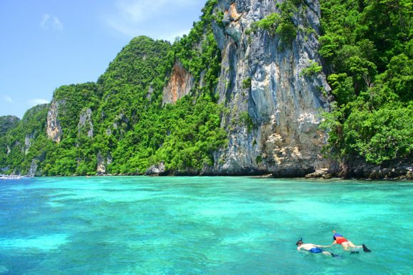 Snorkeling at the Andaman Sea, Koh Ngai, Thailand.